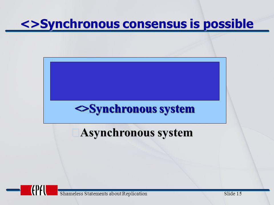 Shameless Statements about Replication Slide 15 <>Synchronous consensus is possible <>Synchronous system Asynchronous system
