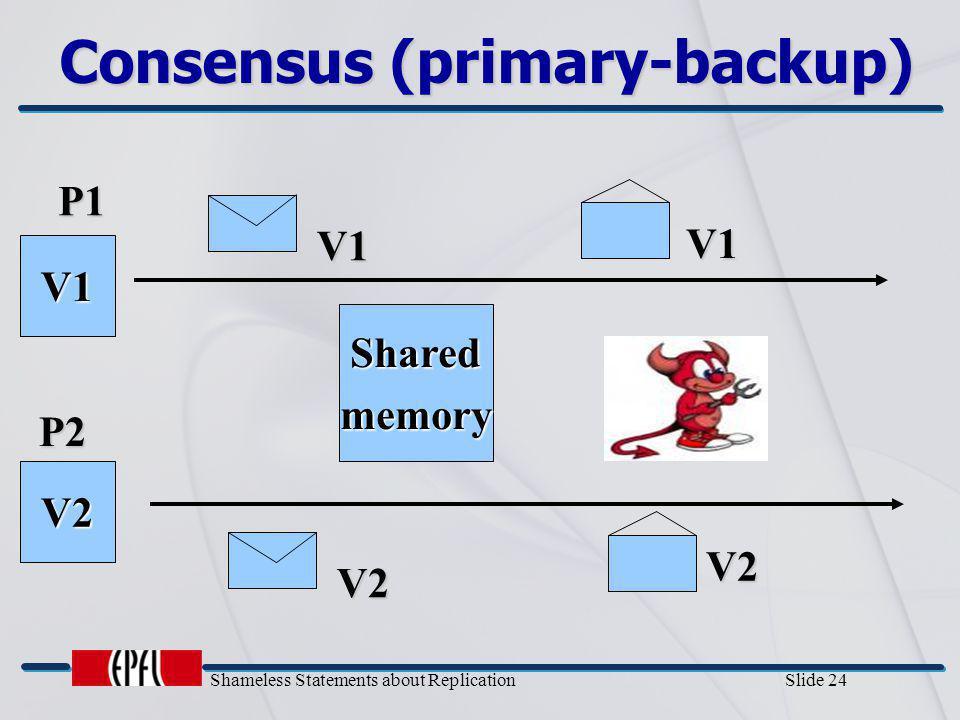 Shameless Statements about Replication Slide 24 Consensus (primary-backup) P1 P2 V1 V2 V2 Sharedmemory V1 V1 V2