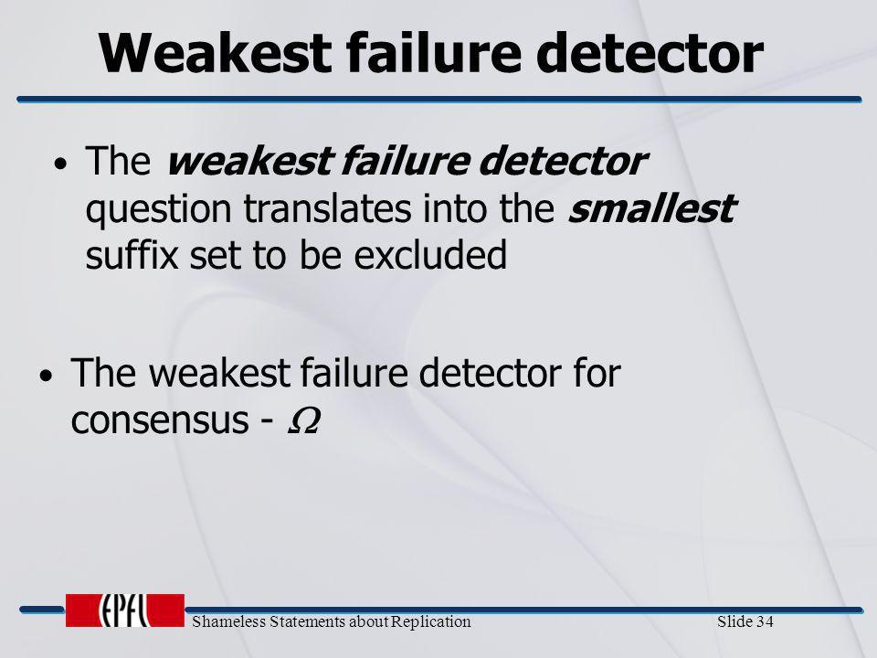 Shameless Statements about Replication Slide 34 Weakest failure detector The weakest failure detector for consensus -  The weakest failure detector q