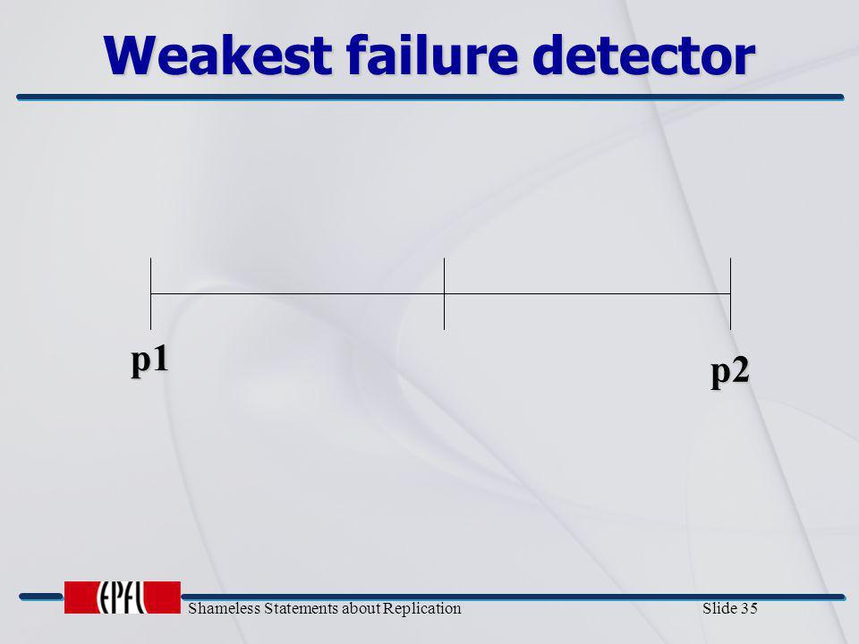 Shameless Statements about Replication Slide 35 Weakest failure detector p1 p2