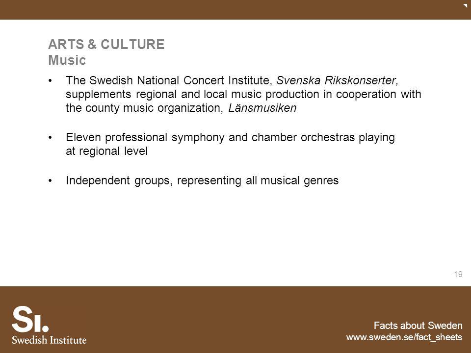 Facts about Sweden www.sweden.se/fact_sheets 19 ARTS & CULTURE Music The Swedish National Concert Institute, Svenska Rikskonserter, supplements region
