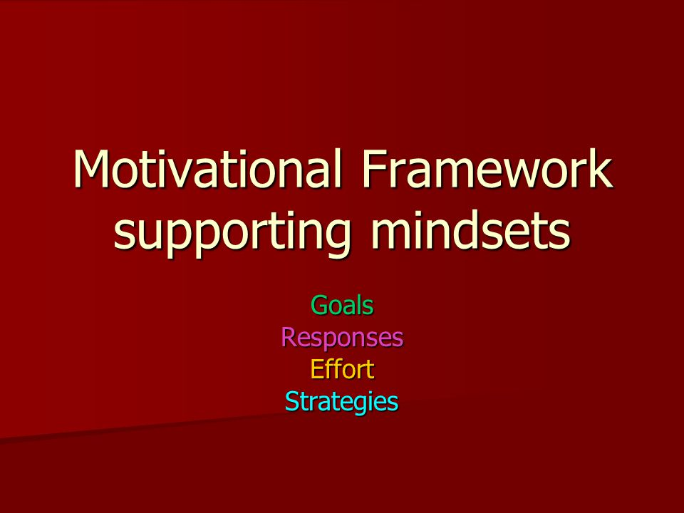 Motivational Framework supporting mindsets GoalsResponsesEffortStrategies