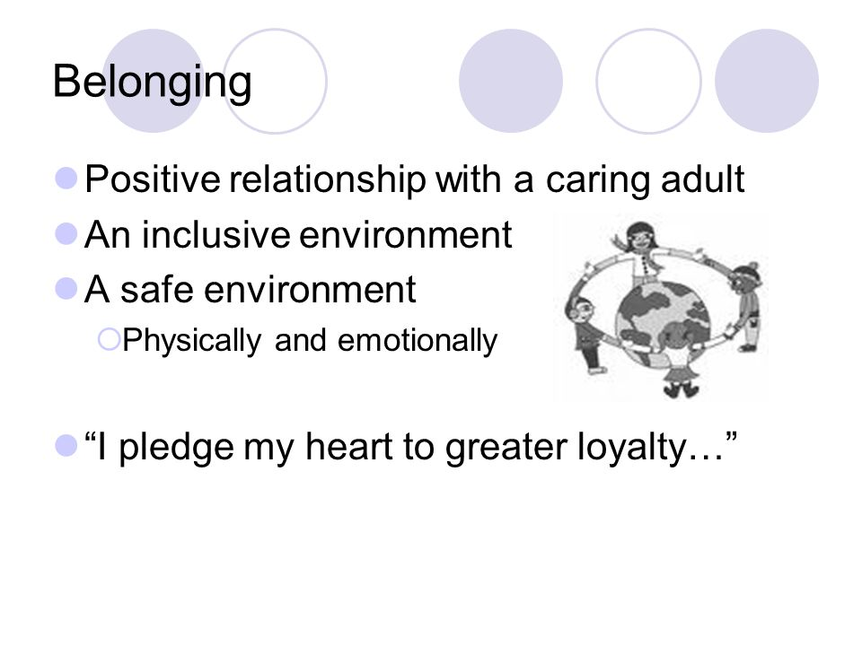 Belonging Positive relationship with a caring adult An inclusive environment A safe environment  Physically and emotionally I pledge my heart to greater loyalty…