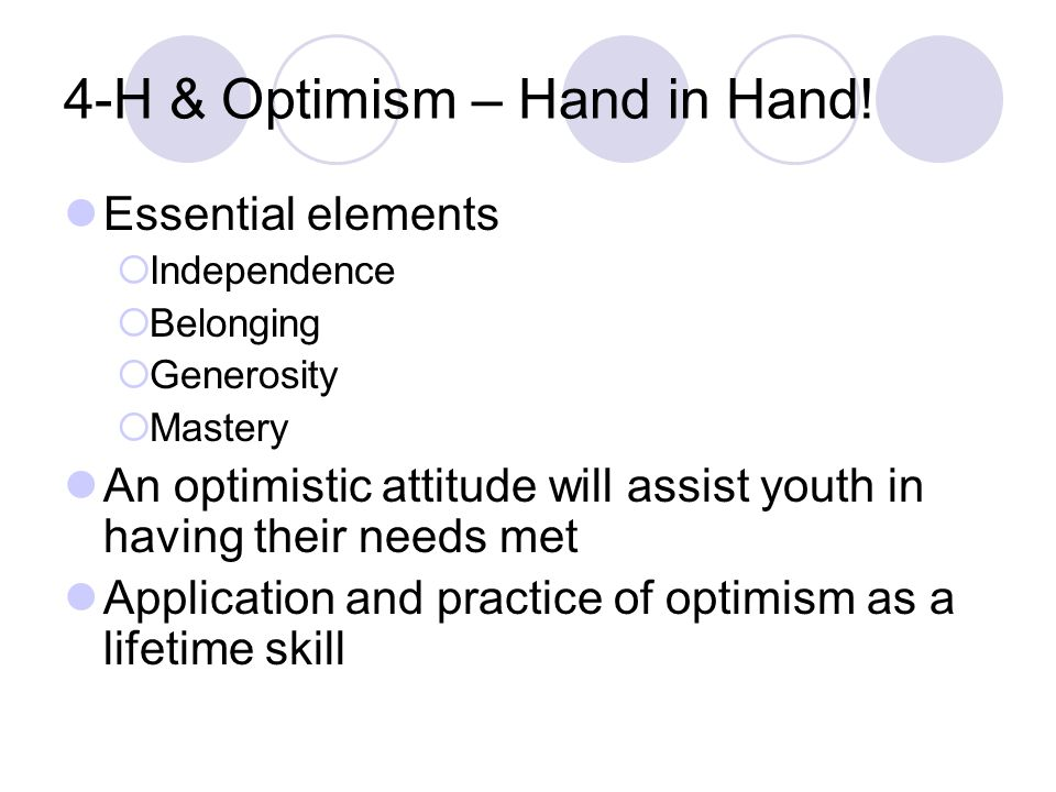 4-H & Optimism – Hand in Hand.