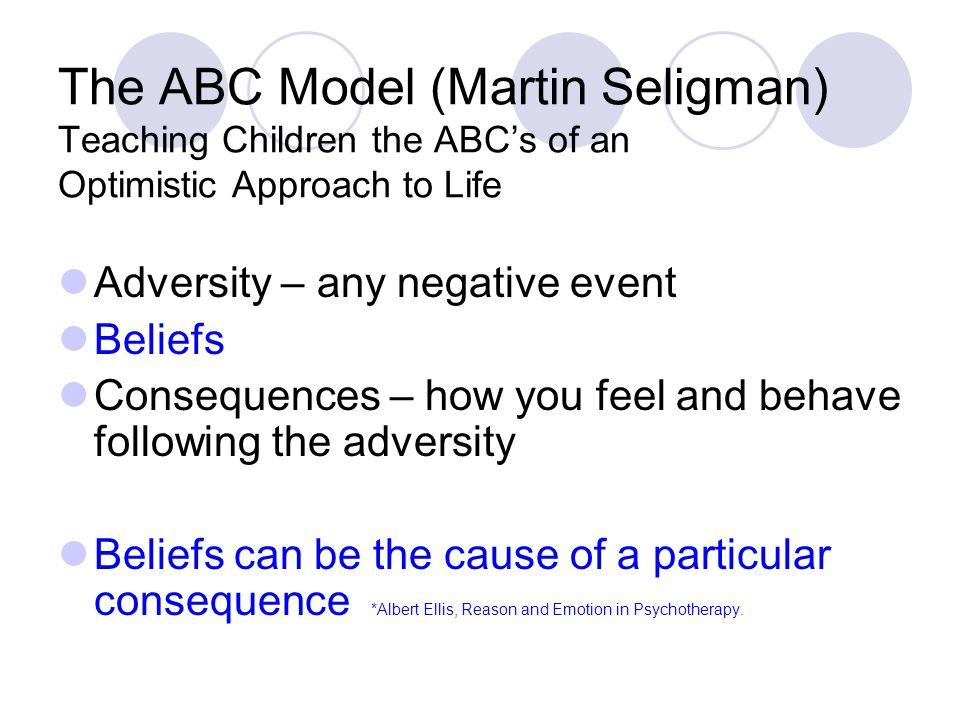 The ABC Model (Martin Seligman) Teaching Children the ABC's of an Optimistic Approach to Life Adversity – any negative event Beliefs Consequences – how you feel and behave following the adversity Beliefs can be the cause of a particular consequence *Albert Ellis, Reason and Emotion in Psychotherapy.