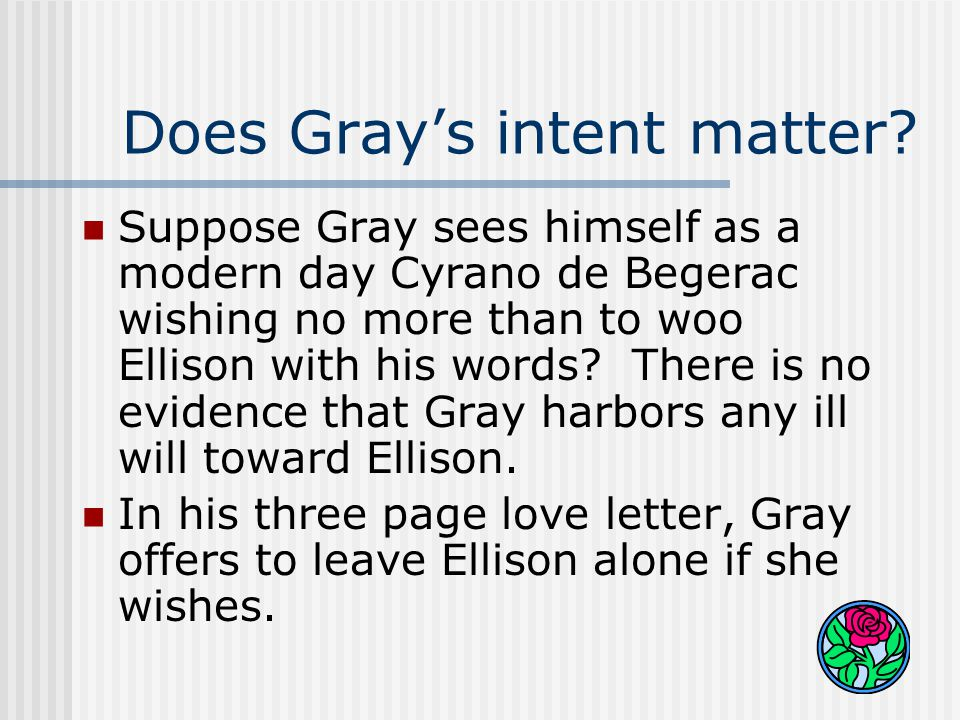 What about now. Ellison gets Gray's note on Wednesday.