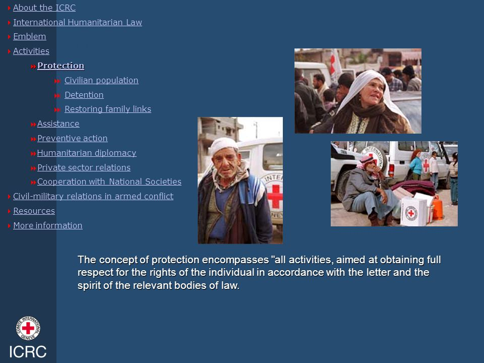 Protection  About the ICRC About the ICRC  International Humanitarian Law International Humanitarian Law  Emblem Emblem  Activities Activities  P