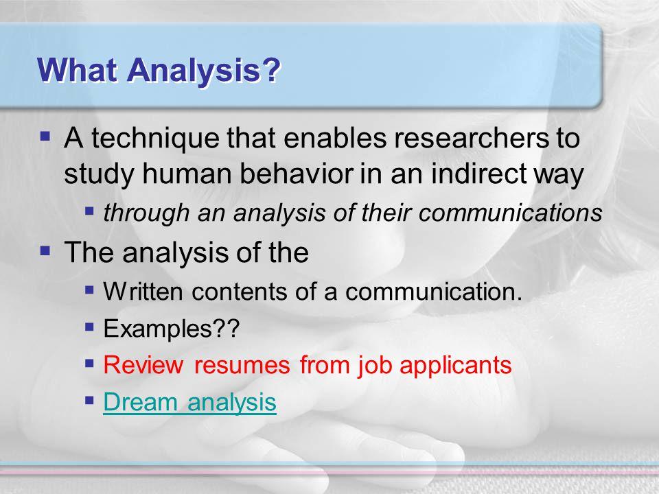 What Analysis.