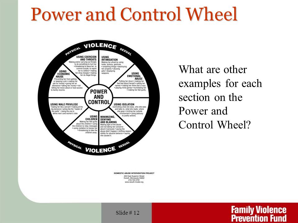 Slide # 12 Power and Control Wheel What are other examples for each section on the Power and Control Wheel?