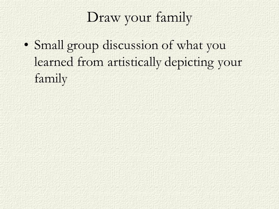 Draw your family Small group discussion of what you learned from artistically depicting your family
