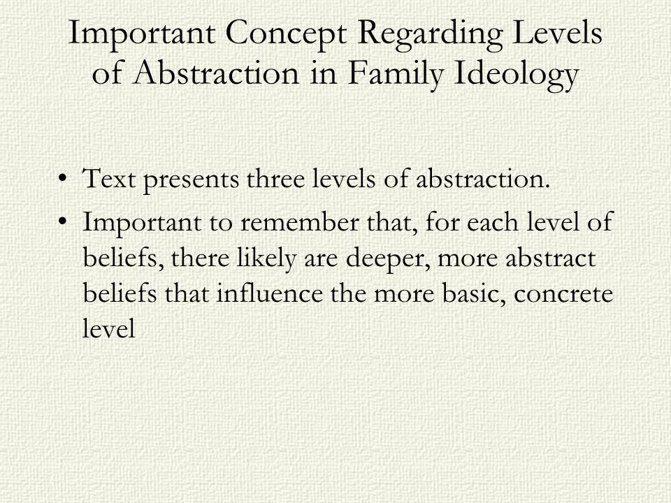 Important Concept Regarding Levels of Abstraction in Family Ideology Text presents three levels of abstraction.