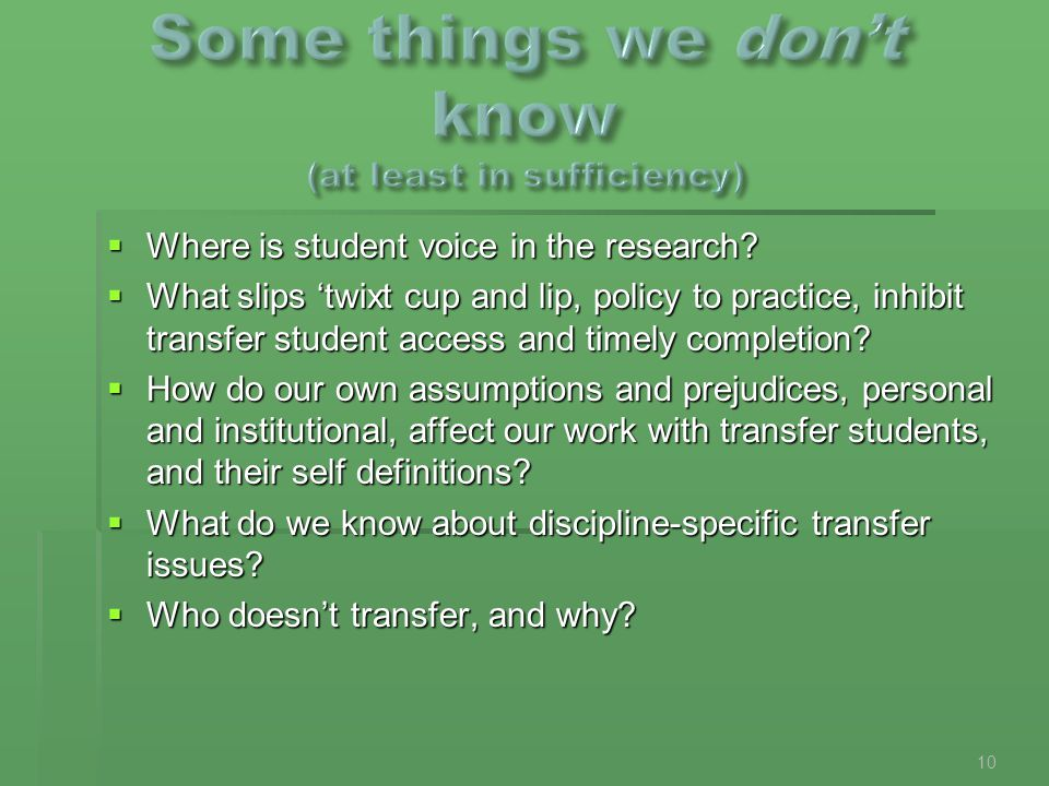  Where is student voice in the research?  What slips 'twixt cup and lip, policy to practice, inhibit transfer student access and timely completion?