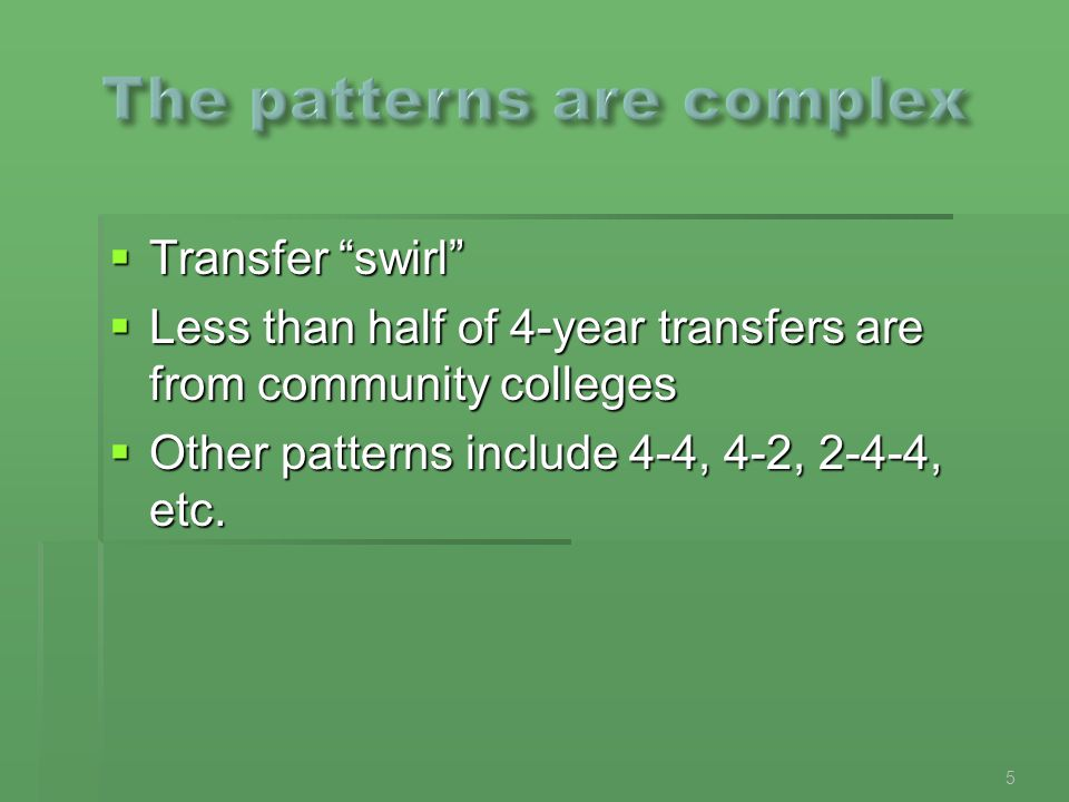  Transfer swirl  Less than half of 4-year transfers are from community colleges  Other patterns include 4-4, 4-2, 2-4-4, etc.