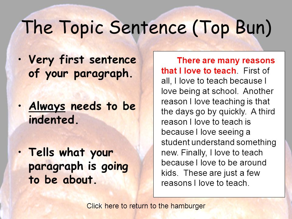 The Topic Sentence (Top Bun) Very first sentence of your paragraph.