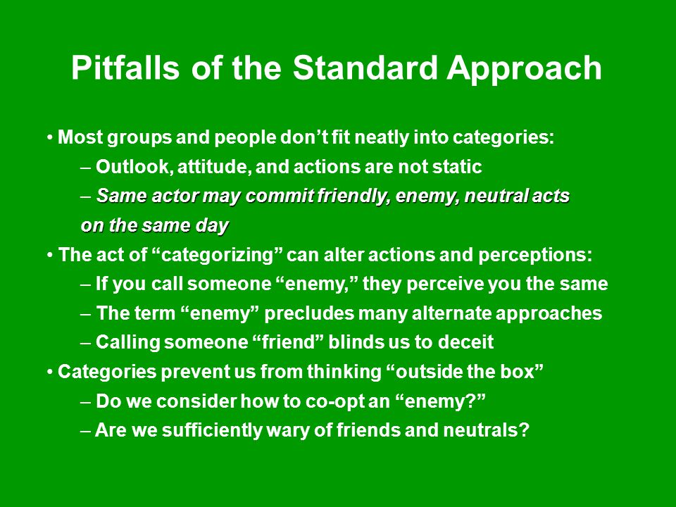 Pitfalls of the Standard Approach Most groups and people don't fit neatly into categories: – Outlook, attitude, and actions are not static Same actor