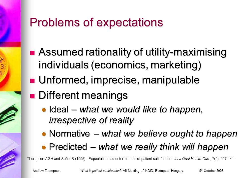 Andrew ThompsonWhat is patient satisfaction? VII Meeting of INGID, Budapest, Hungary.5 th October 2006 Problems of expectations Assumed rationality of