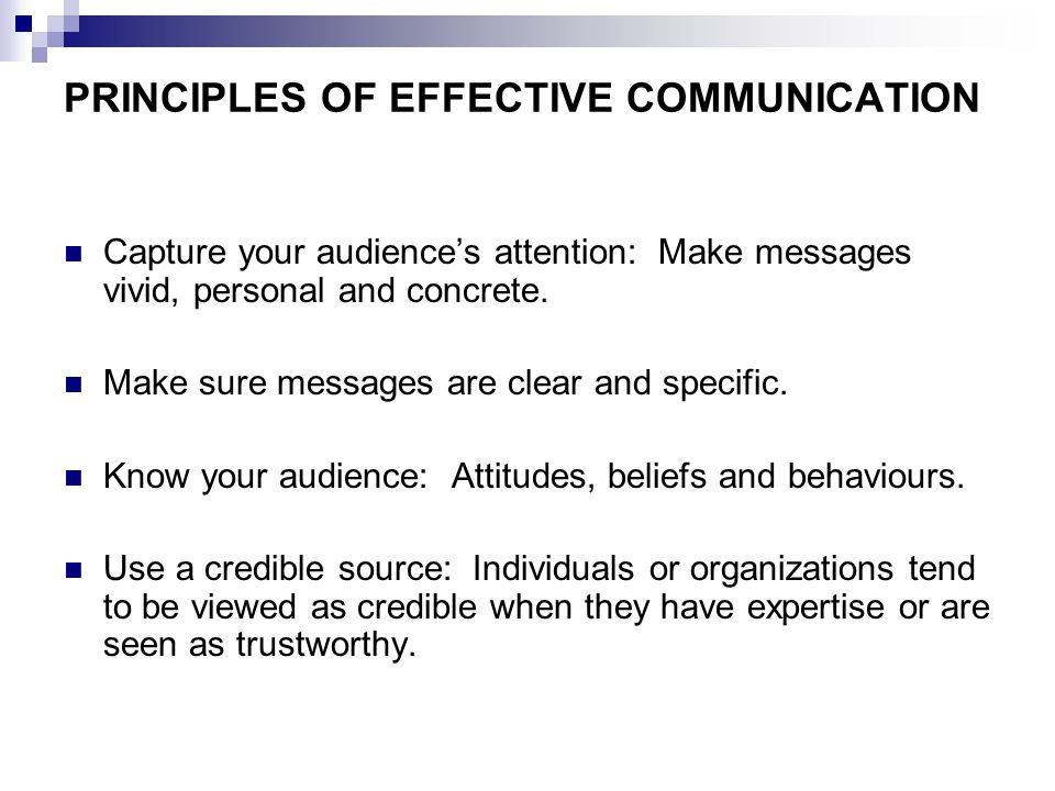 PRINCIPLES OF EFFECTIVE COMMUNICATION Capture your audience's attention: Make messages vivid, personal and concrete.