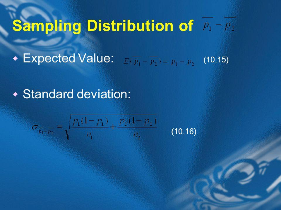 Sampling Distribution of  Expected Value: (10.15)  Standard deviation: (10.16)