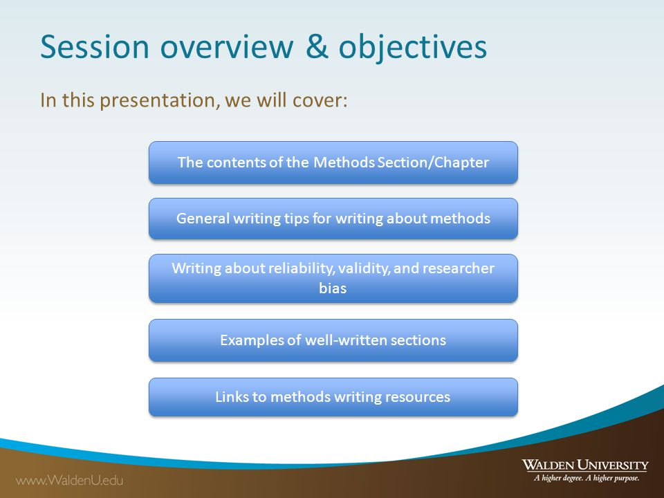 Session overview & objectives In this presentation, we will cover: The contents of the Methods Section/Chapter General writing tips for writing about