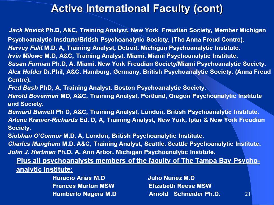 20 Active International Faculty Melvin Bornstein M.D, A, Training Analyst, Detroit, Michigan Psychoanalytic Institute.