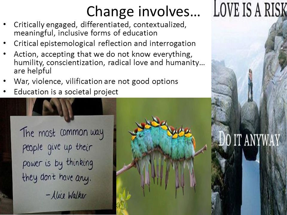 Change involves… Critically engaged, differentiated, contextualized, meaningful, inclusive forms of education Critical epistemological reflection and