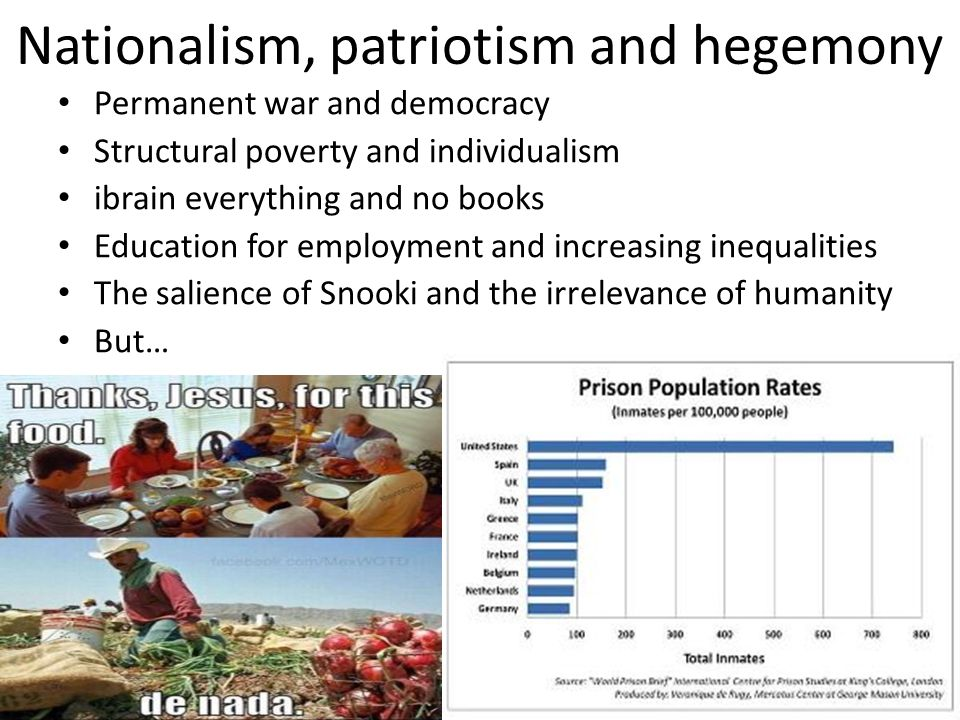 Nationalism, patriotism and hegemony Permanent war and democracy Structural poverty and individualism ibrain everything and no books Education for emp