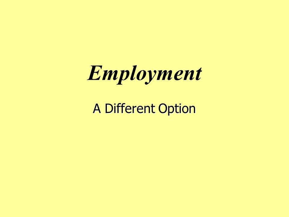 Employment A Different Option