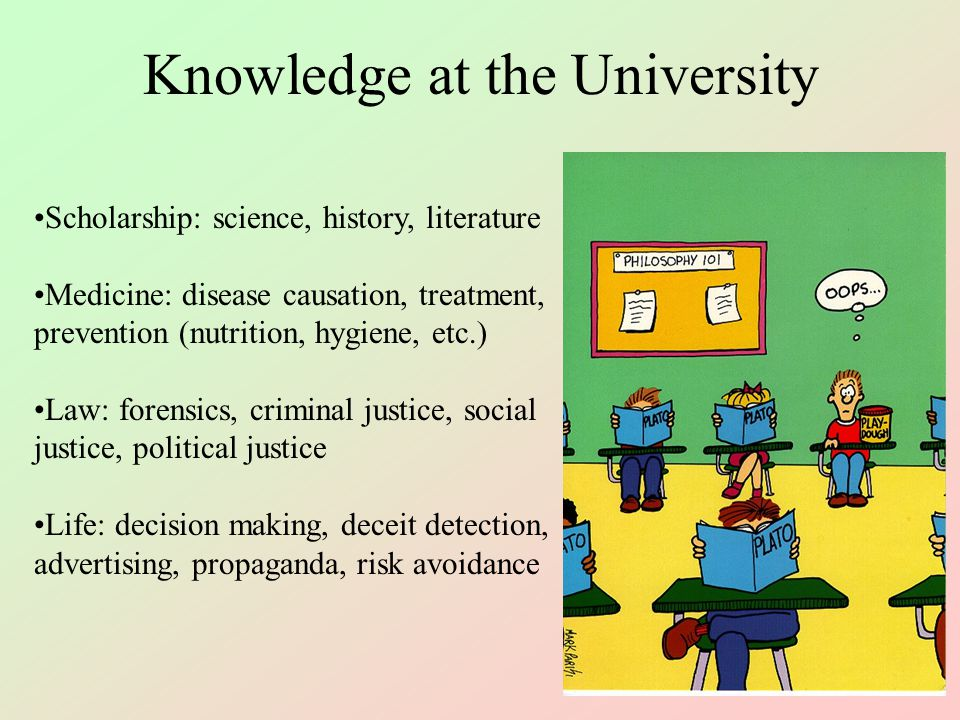 Sources of Knowledge Genetic, intuitive (instinctual behavior) Personal learned experience (contingent experience) Revelation or introspection Tradition/authority (culture/society, taboos, laws, etc.) Scholarly (scientific, historical, legal, medical, etc.)