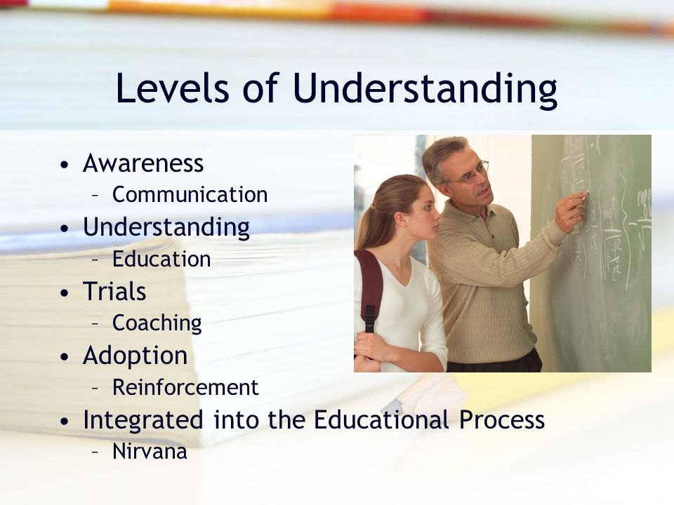 Levels of Understanding Awareness –Communication Understanding –Education Trials –Coaching Adoption –Reinforcement Integrated into the Educational Process –Nirvana
