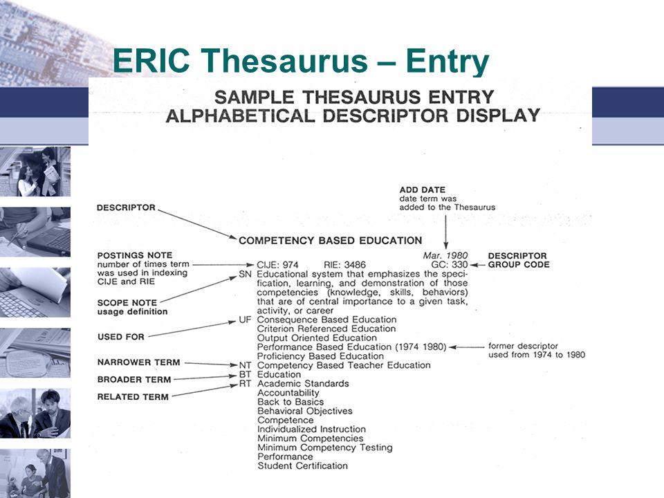 ERIC Thesaurus – Entry