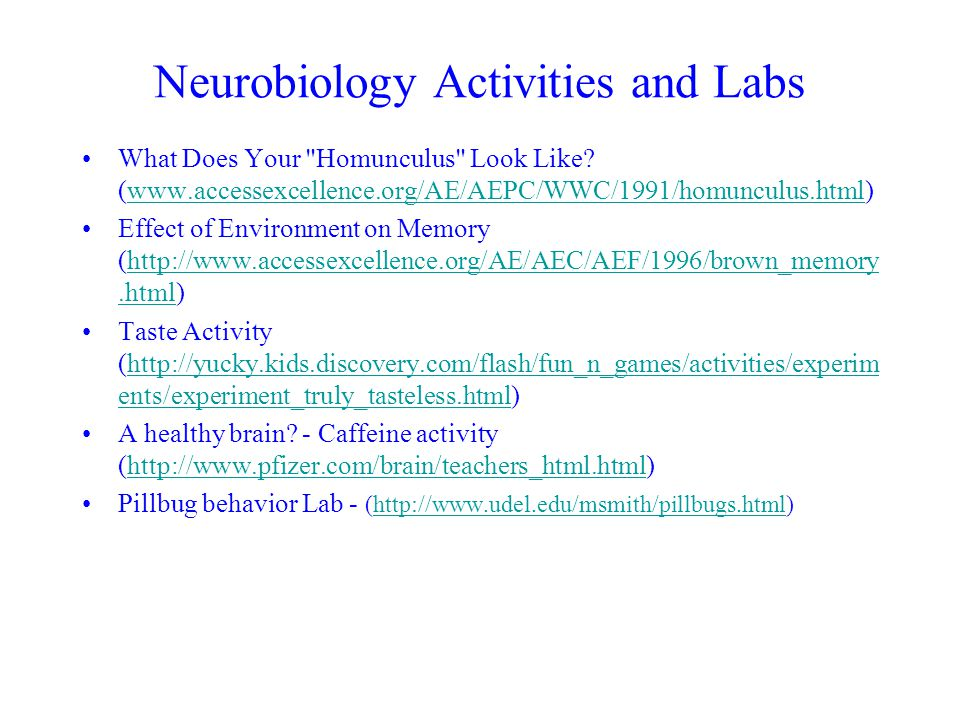 Neurobiology Activities and Labs What Does Your