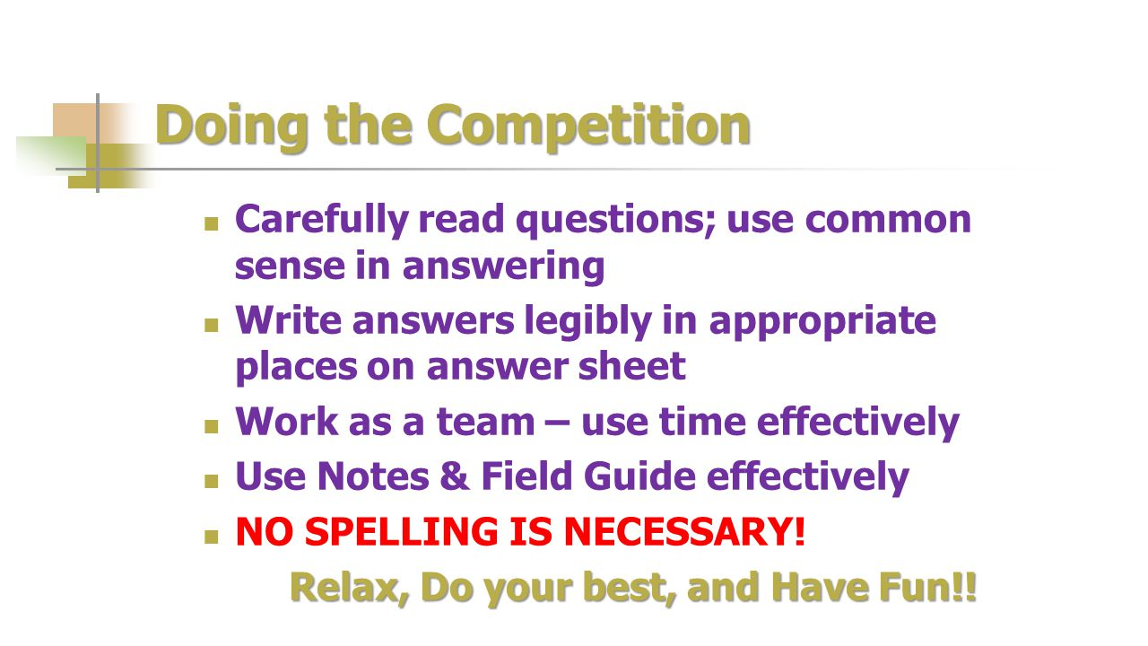 Doing the Competition Carefully read questions; use common sense in answering Write answers legibly in appropriate places on answer sheet Work as a te
