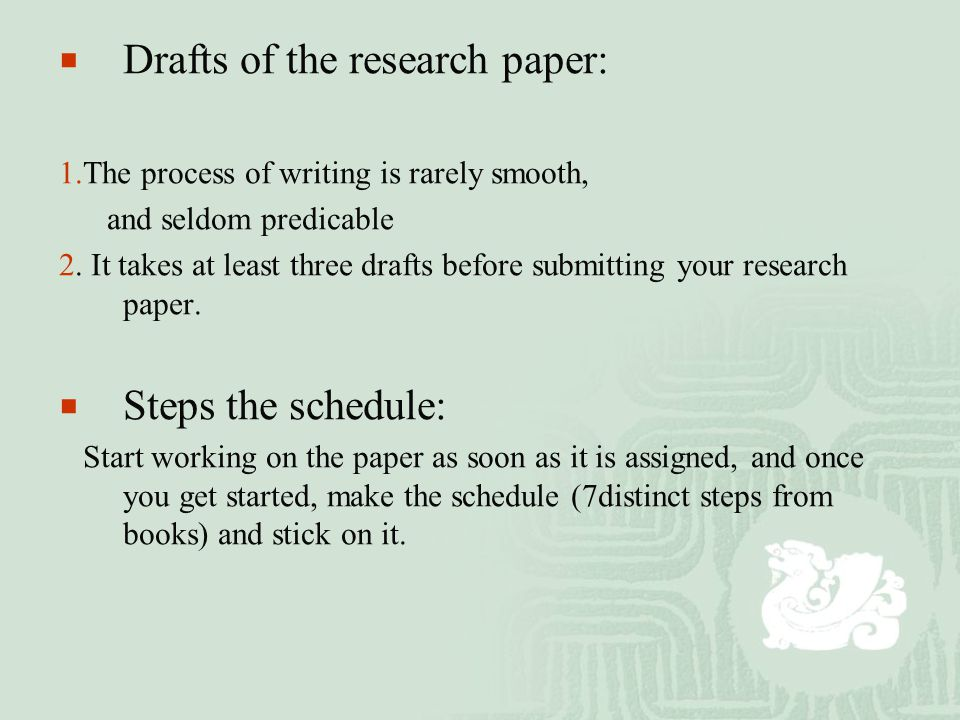  Drafts of the research paper: 1.The process of writing is rarely smooth, and seldom predicable 2.