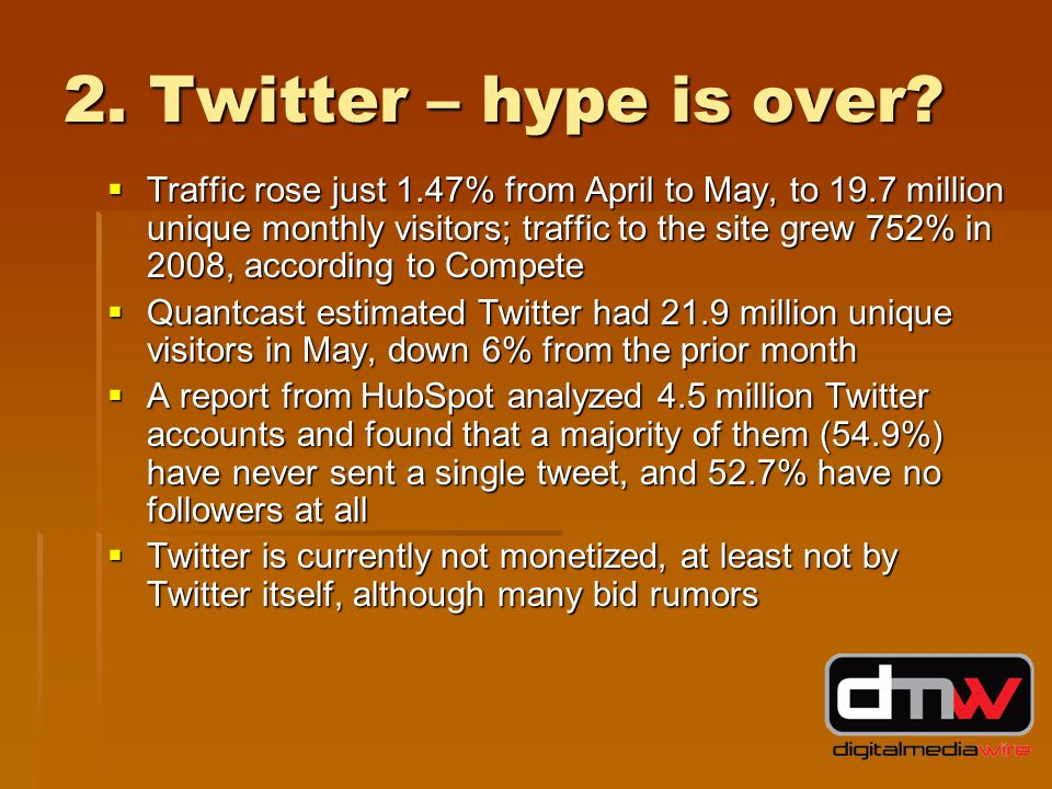 2. Twitter – hype is over.