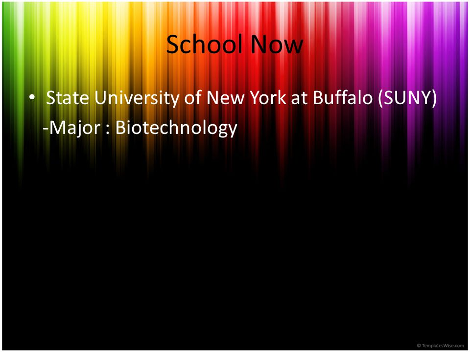 School Now State University of New York at Buffalo (SUNY) -Major : Biotechnology