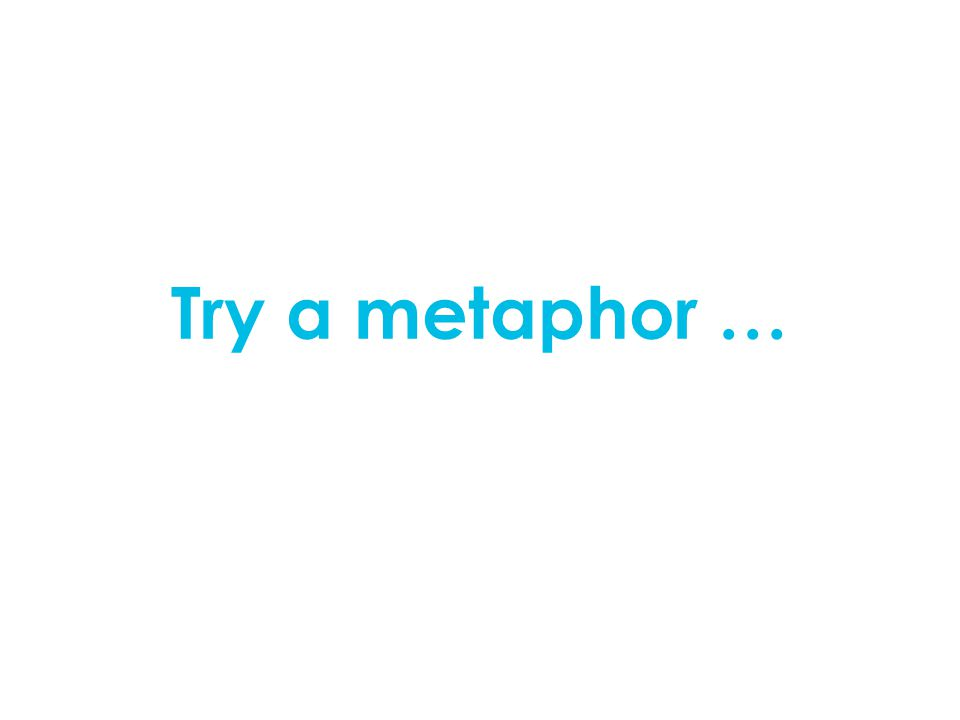 Try a metaphor …