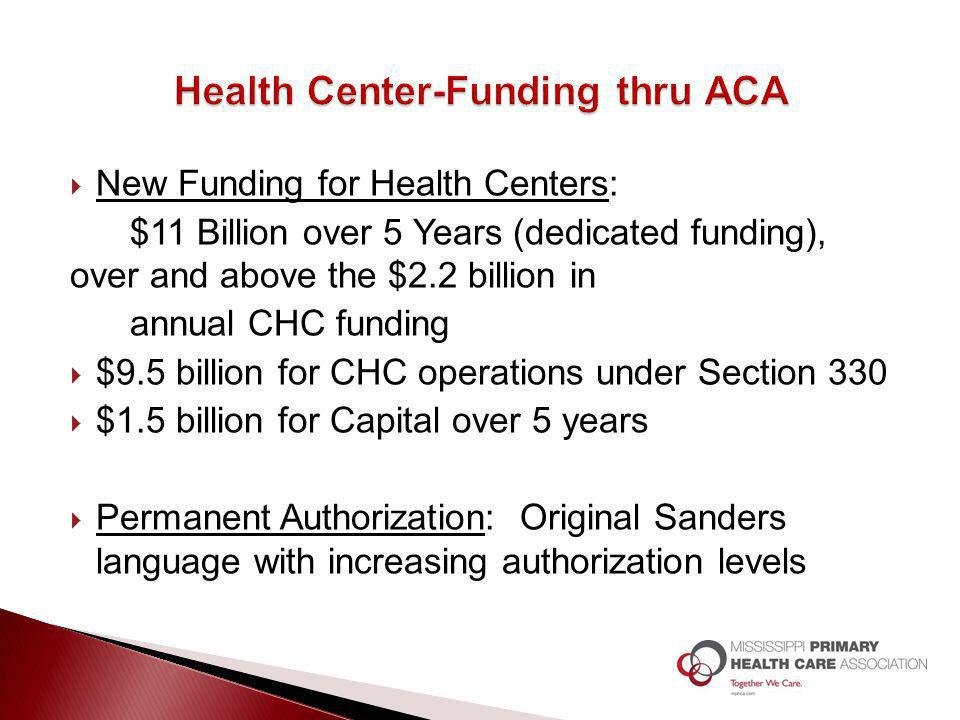 New Funding for Health Centers: $11 Billion over 5 Years (dedicated funding), over and above the $2.2 billion in annual CHC funding  $9.5 billion f