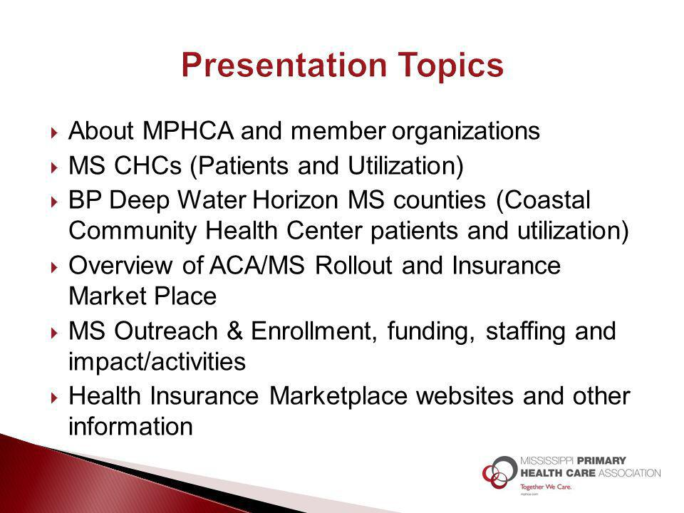  About MPHCA and member organizations  MS CHCs (Patients and Utilization)  BP Deep Water Horizon MS counties (Coastal Community Health Center patie