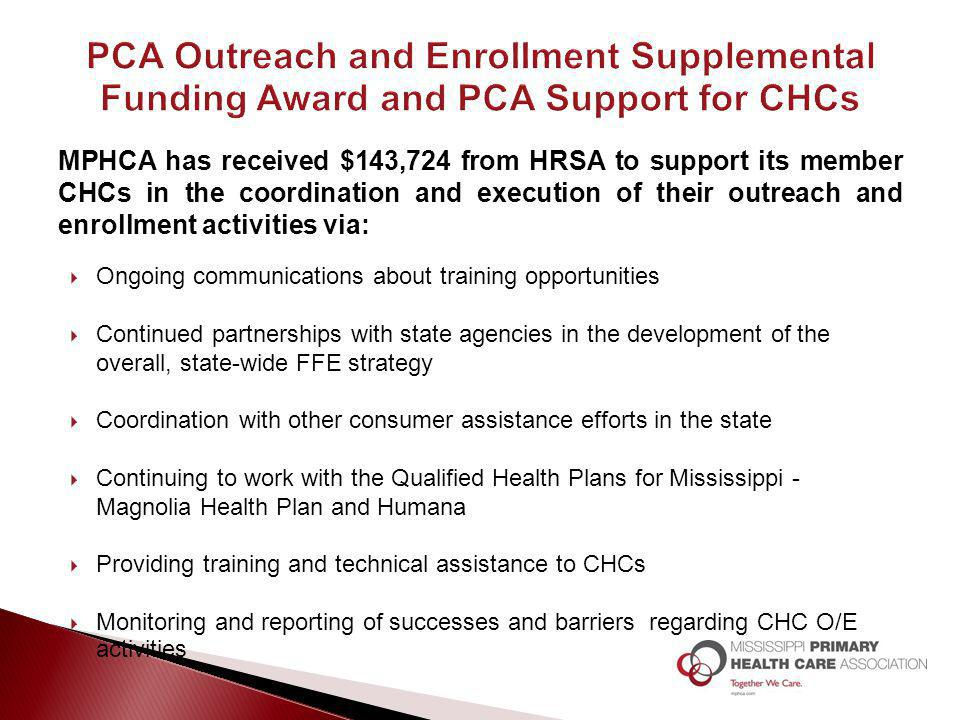 MPHCA has received $143,724 from HRSA to support its member CHCs in the coordination and execution of their outreach and enrollment activities via: 