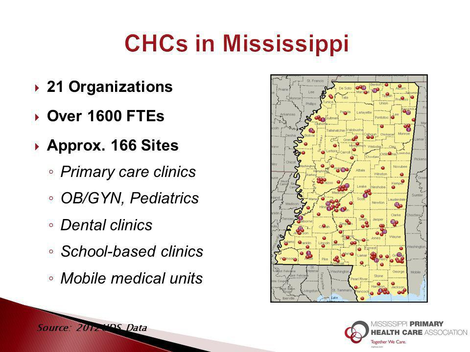  21 Organizations  Over 1600 FTEs  Approx. 166 Sites ◦ Primary care clinics ◦ OB/GYN, Pediatrics ◦ Dental clinics ◦ School-based clinics ◦ Mobile m