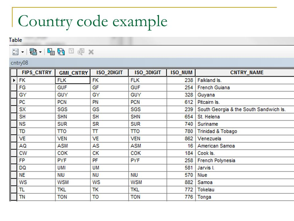 Country code example