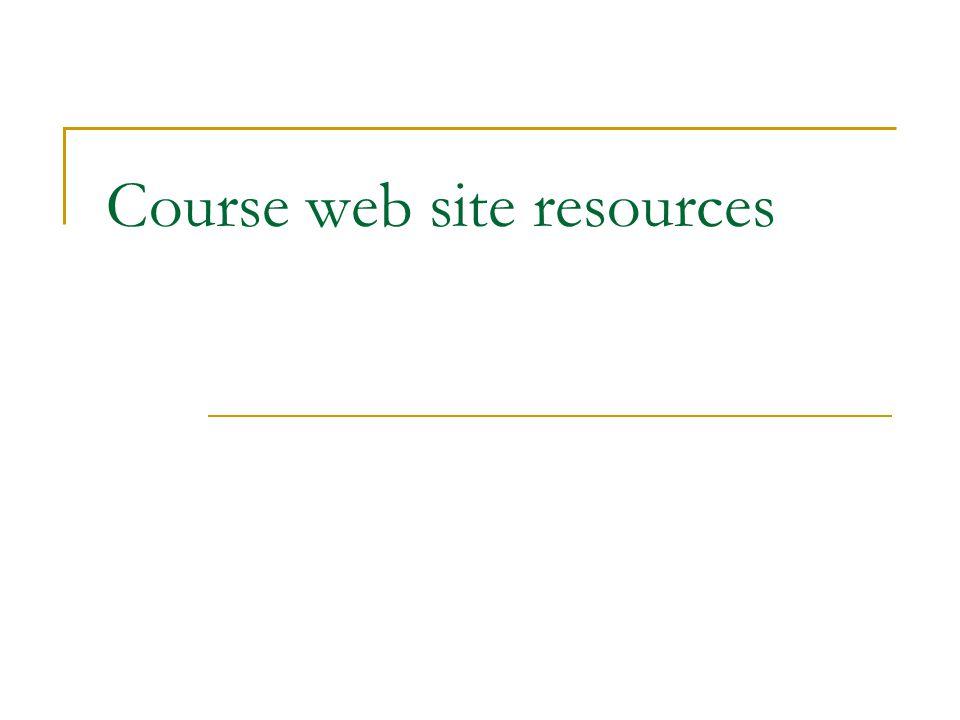 Course web site resources