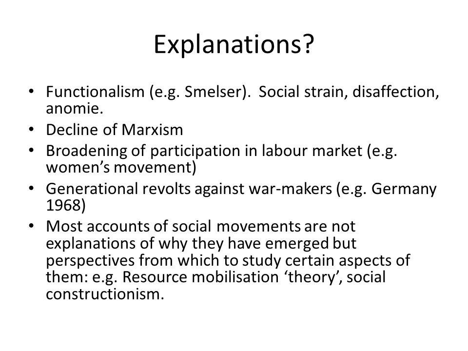 Explanations? Functionalism (e.g. Smelser). Social strain, disaffection, anomie. Decline of Marxism Broadening of participation in labour market (e.g.