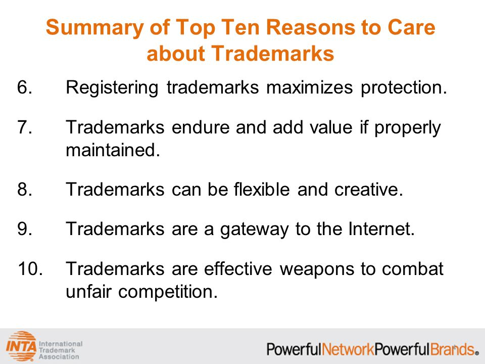 1.Trademarks resonate with consumers.