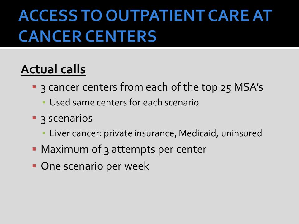 Actual calls  3 cancer centers from each of the top 25 MSA's ▪ Used same centers for each scenario  3 scenarios ▪ Liver cancer: private insurance, Medicaid, uninsured  Maximum of 3 attempts per center  One scenario per week
