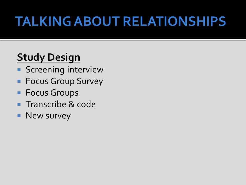Study Design  Screening interview  Focus Group Survey  Focus Groups  Transcribe & code  New survey