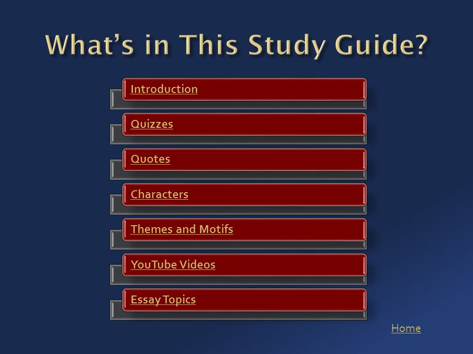 Home IntroductionQuizzesQuotesCharactersThemes and MotifsYouTube VideosEssay Topics