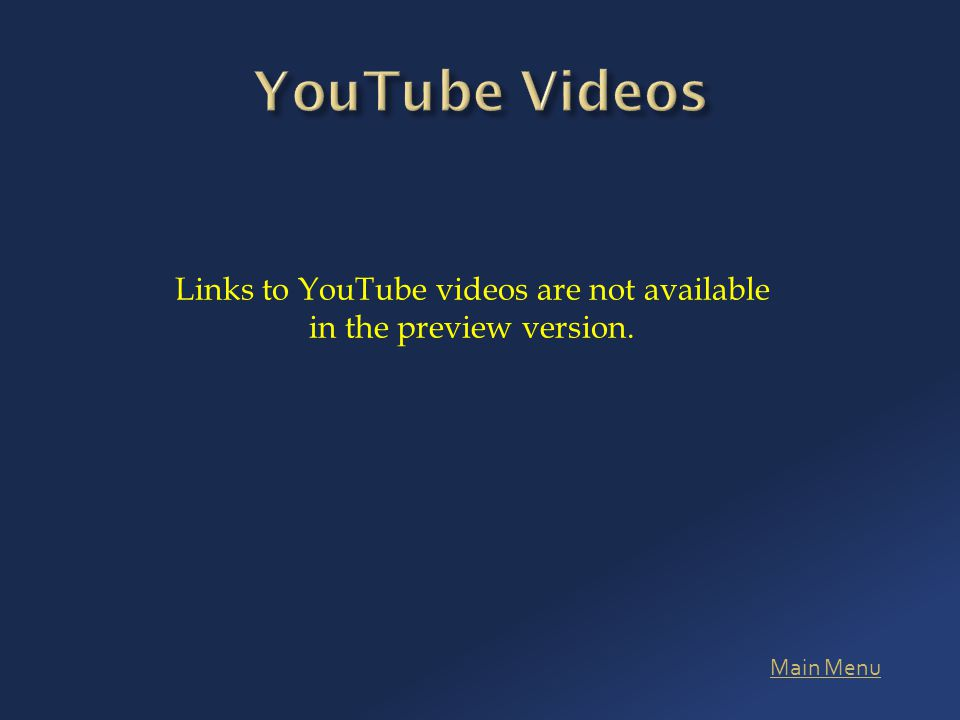 Main Menu Links to YouTube videos are not available in the preview version.