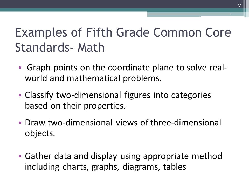Examples of Fifth Grade Common Core Standards- Math Graph points on the coordinate plane to solve real- world and mathematical problems.