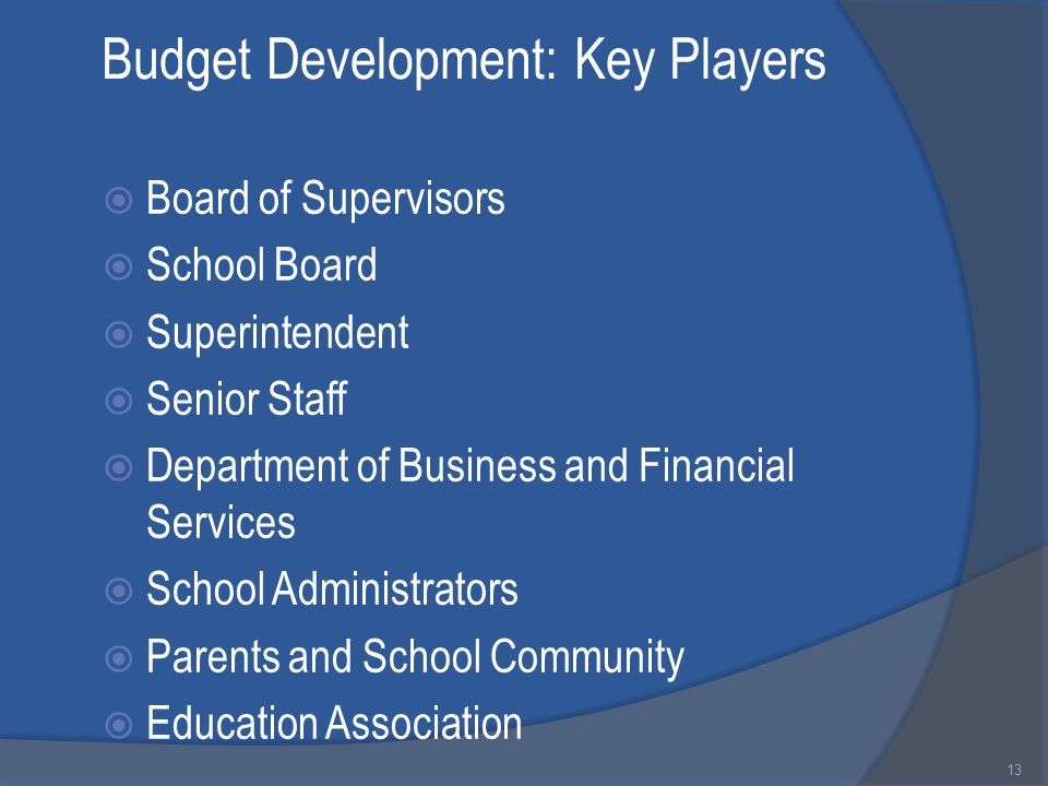 Budget Development: Key Players  Board of Supervisors  School Board  Superintendent  Senior Staff  Department of Business and Financial Services  School Administrators  Parents and School Community  Education Association 13